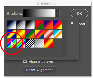 Selecting the Spectrum gradient in the Gradient Picker.