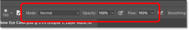 The Brush Tool's Mode, Opacity and Flow options in the Options Bar in Photoshop