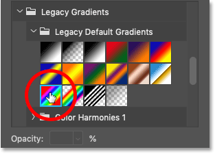 Choosing the Spectrum gradient from the Legacy Default Gradients set in Photoshop