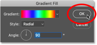 Closing the Gradient Fill dialog box in Photoshop