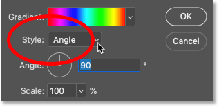 The Style option in the Gradient Fill dialog box in Photoshop