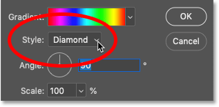 Changing the Style to Diamond in Photoshop's Gradient Fill dialog box
