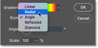 Changing the style of the gradient to Radial in Photoshop's Gradient Fill dialog box