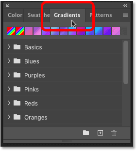 The new Gradients panel in Photoshop CC 2020