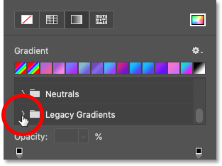 Opening the Legacy Gradients folder in Photoshop CC 2020