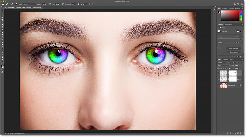 The initial Rainbow Eye Color effect in Photoshop is complete