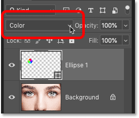 Changing the blend mode of the Shape layer to Color.