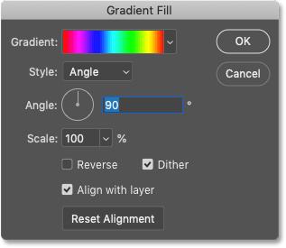 The Gradient Fill dialog box.