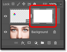 A layer mask thumbnail appears on the shape layer in Photoshop's Layers panel
