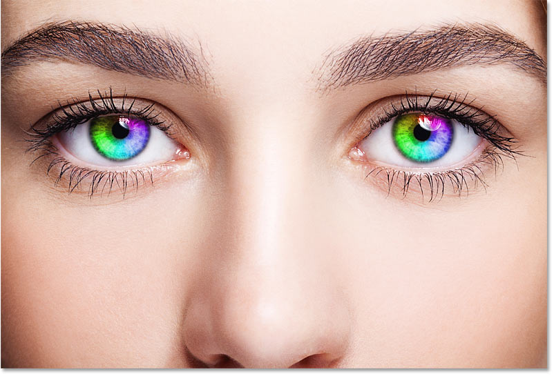The final rainbow eye color effect in Photoshop