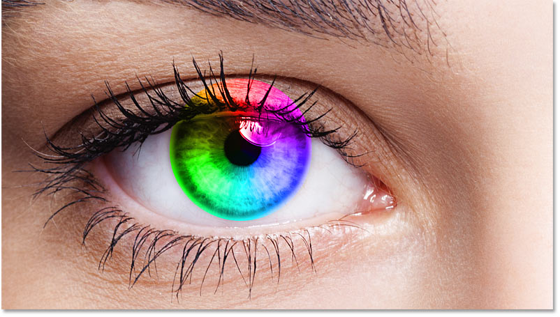 The eye color effect after changing the shape's blend mode to Color