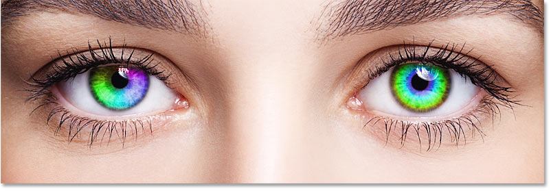 The effect after changing the right eye's gradient style to Radial in Photoshop
