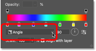 Changing the Gradient Style to Angle in Photoshop