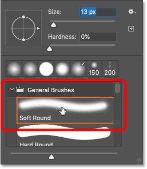Choosing the Soft Round brush from Photoshop's Brush Preset picker