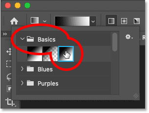 Selecting the Black, White gradient from the Gradient picker in Photoshop