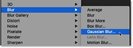 Choosing the Gaussian Blur filter in Photoshop