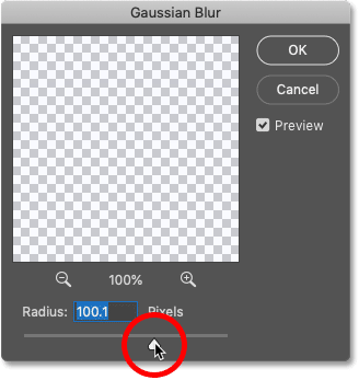 Blurring the rainbow gradient with Photoshop's Gaussian Blur filter