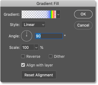 The Gradient Fill dialpg box in Photoshop