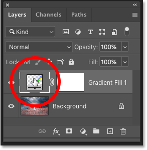 Double-clicking on the Gradient fill layer's color swatch in Photoshop's Layers panel
