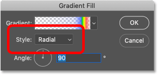 Changing the Style option for the gradient to Radial in Photoshop