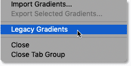 Loading the Legacy Gradients trong Photoshop