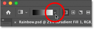 Clicking the arrow to the right of the gradient color swatch in Photoshop's Options Bar