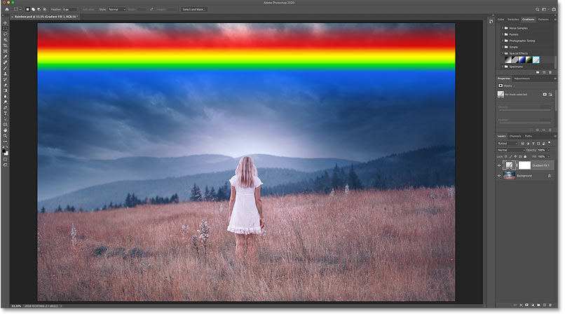 The result after dropping the Russell's Rainbow gradient onto the image