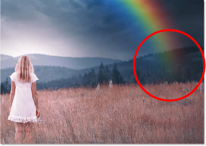 Part of the rainbow that still needs to be hidden in the image