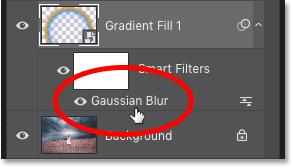 How to re-open the Gaussian Blur smart filter settings in Photoshop's Layers panel