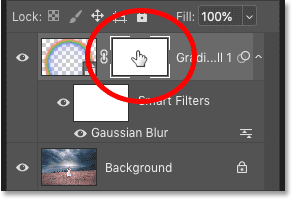 Selecting the layer mask in Photoshop's Layers panel