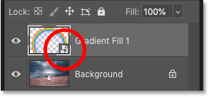 Photoshop's Layers panel showing the Gradient fill layer converted to a smart object