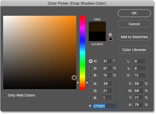 Choosing a dark, saturated version of the sampled color for the drop shadow in Photoshop