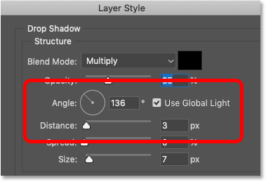 The Angle and Distance options for the drop shadow in Photoshop's Layer Style dialog box