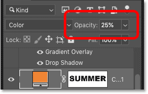 Lowering the opacity of the Solid Color fill layer in Photoshop's Layers panel
