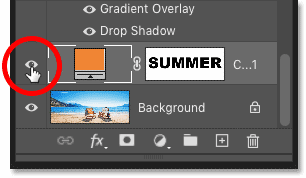Clicking the fill layer's visibility icon in the Layers panel
