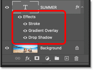 Photoshop's Layers panel showing the layer effects applied to the text
