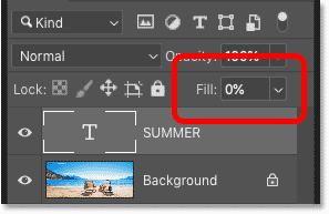 Lowering the Fill value of the type layer to 0 percent in Photoshop's Layers panel