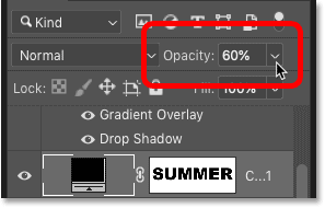 Lowering the opacity of the fill layer in Photoshop's Layer Style dialog box