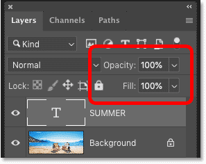 The Opacity and Fill options in Photoshop's Layers panel
