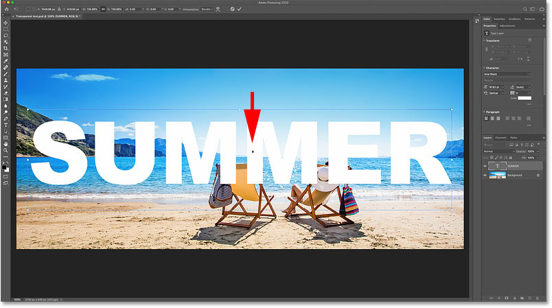 Centering the text in front of the image in Photoshop