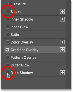 Turning off the Stroke and Drop Shadow layer effects