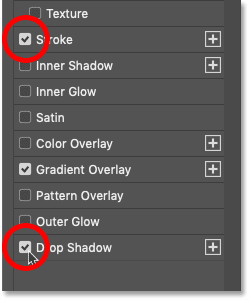 Turning on the Stroke and Drop Shadow layer effects