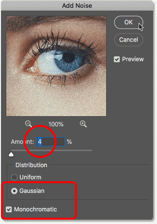 Adding a texture to the blended images with the Add Noise filter in Photoshop