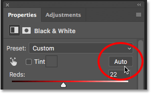 Clicking the Auto button for the Black and White adjustment layer