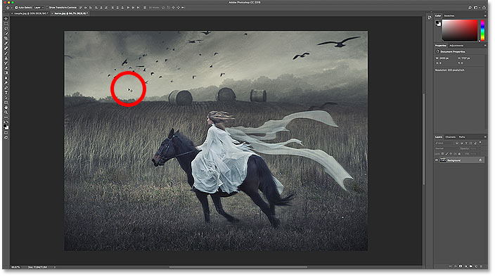 Clicking on the image that will be moved into the other document in Photoshop