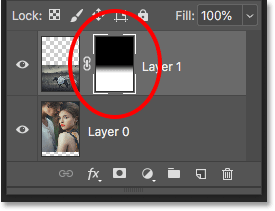 The Layers panel showing the black to white gradient in the layer mask thumbnail