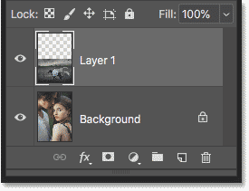 The Layers panel showing the image of the couple on the Background layer