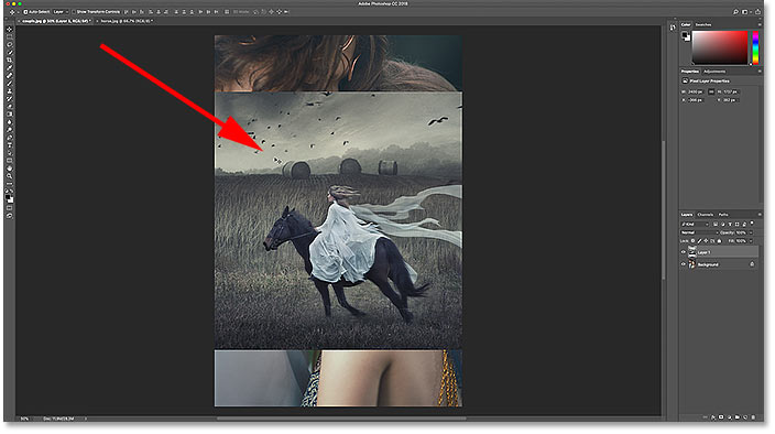 Dragging the image into the other document in Photoshop