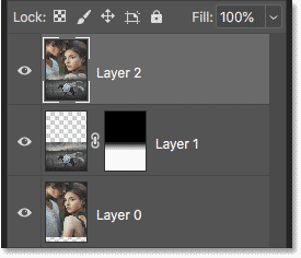 The blended images have been merged onto a new layer in Photoshop