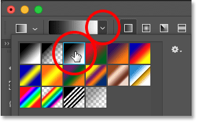 Selecting the Black, White gradient in Photoshop